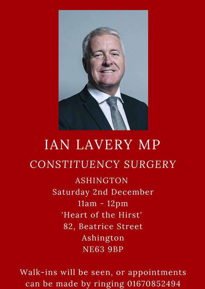 Ian Lavery MP Surgery @ Heart Of The Hirst